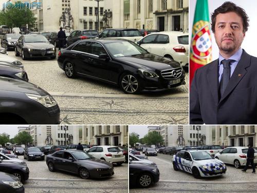 O Ministro Miguel Poiares Maduro, esteve na Universidade de Coimbra, na sua nova frota de Mercedes Classe E de 2014, com protecção de diversos carros da segurança privada, e escolta policial da PSP