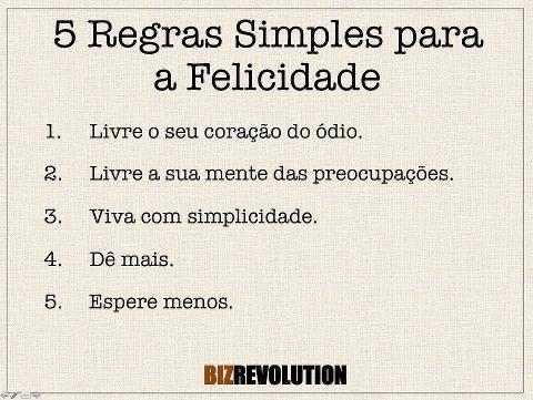 5 regras simples para a felicidade