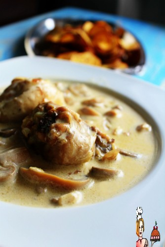 perninhas de frango com natas e cogumelos