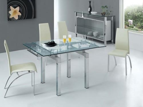 Mesa de jantar em vidro rectangular com pés em inox