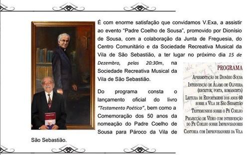 Homenagem ao Pe. Coelho de Sousa, no domingo...