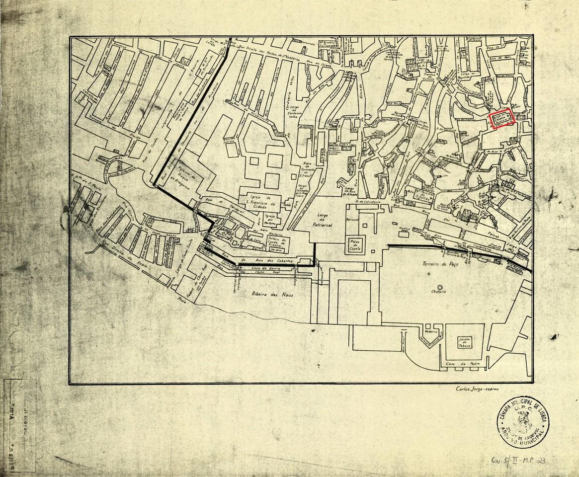 Planta do centro histórico de Lisboa anterior ao