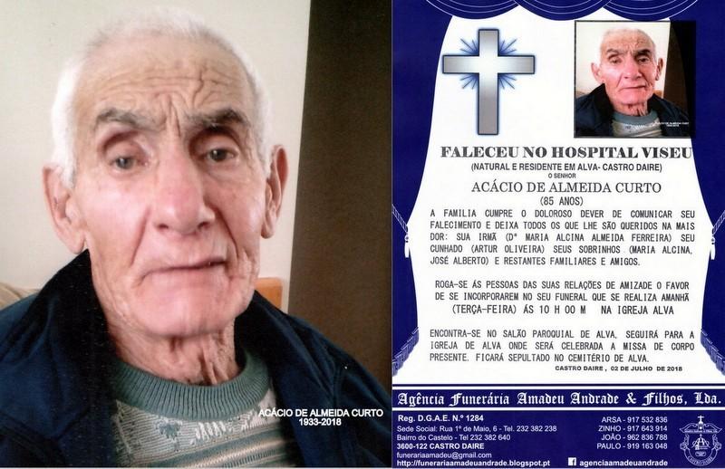 FOTO RIP DE ACÁCIO DE ALMEIDA CURTO-85 ANOS (ALVA