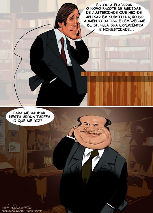 Cartoons - Pedro Passos Coelho e Vale e Azevedo juntos a governar o país