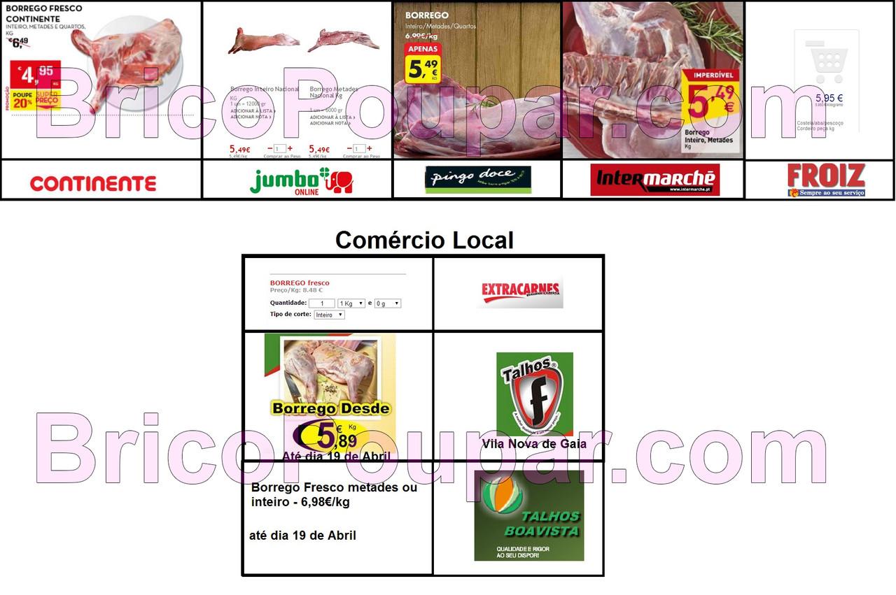 comparação de borrego entre vários supermercados