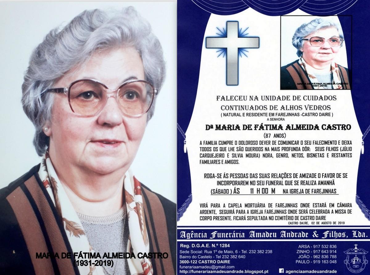 FOTO RIP  DE MARIA DE FÁTIMA ALMEIDA CASTRO (1931