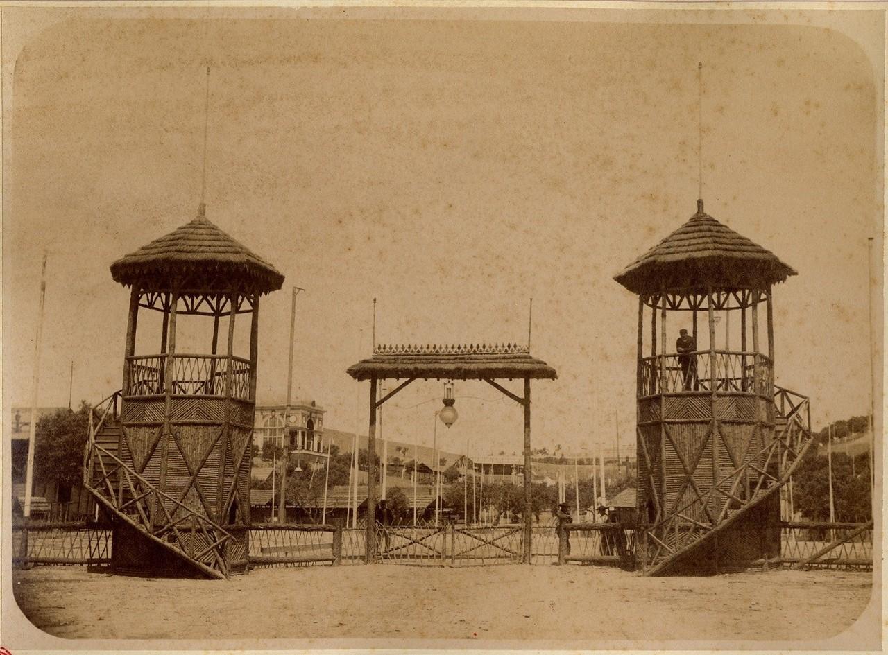 Entrada da exposição pecuária, 1888, prova em a