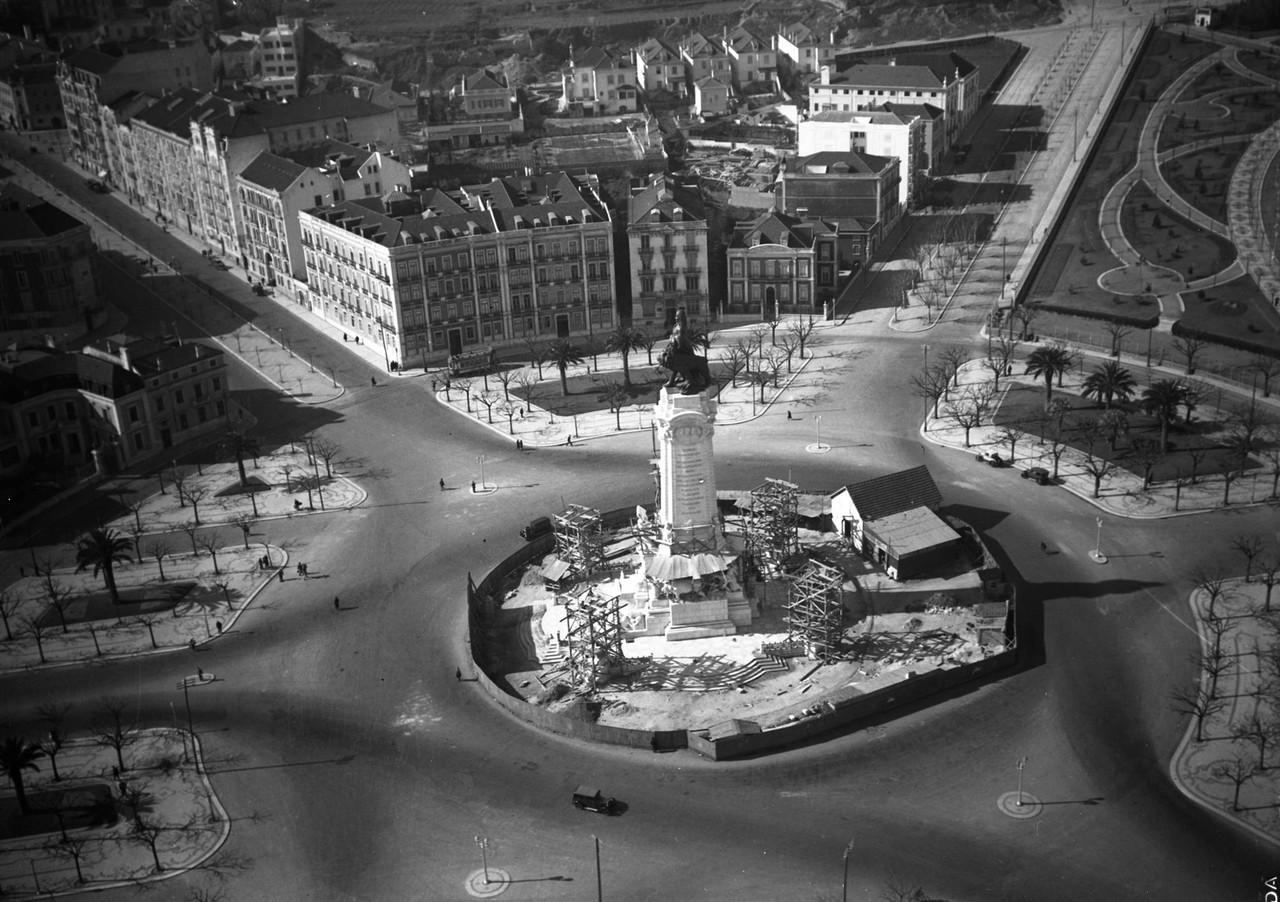 Vista aérea do Marquês de Pombal, c. 1934, foto