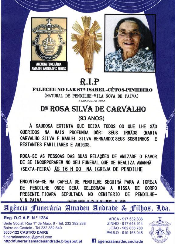 RIP- DE ROSA SILVA DE CARVALHO-93 ANOS (PENDILHE).