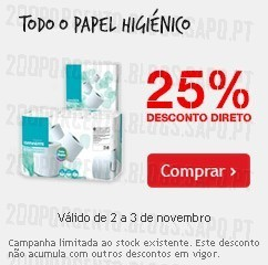 25% de desconto direto | CONTINENTE | Papel Higiénico, 2 e 3 novembro