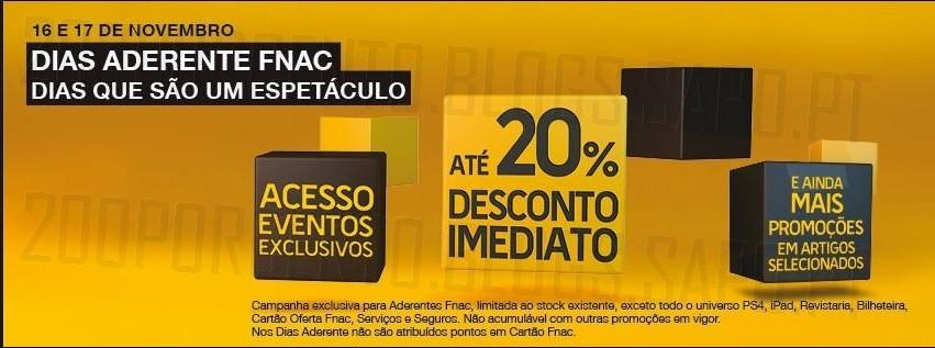 Até 20% de desconto imediato | FNAC | dias 16 e 17 novembro