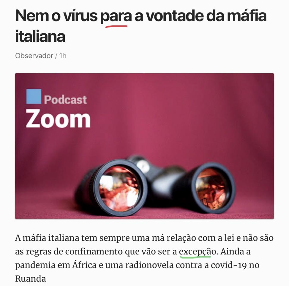 «Nem o vírus para a vontade da máfia… (Observador, 17/IV/20«20)