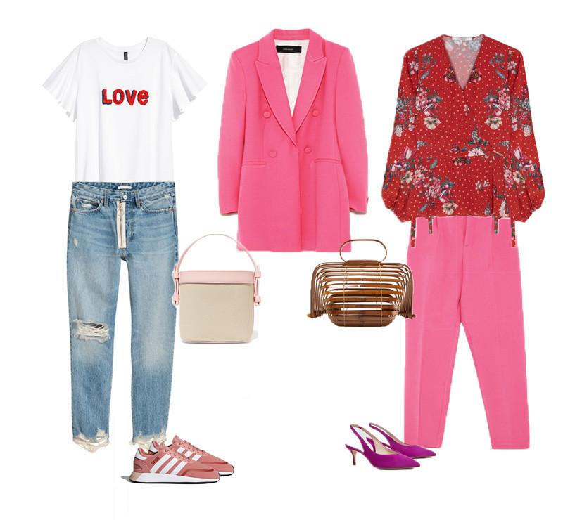 cdfa8af5ad T-shirt branca e jeans H M. Ténis adidas. Bolsa creme e rosa Nico Giani.  Blazer Zara. Blusa vermelha Uterque. Calças rosa Zara. Bolsa em bambu Cult  Gaia.