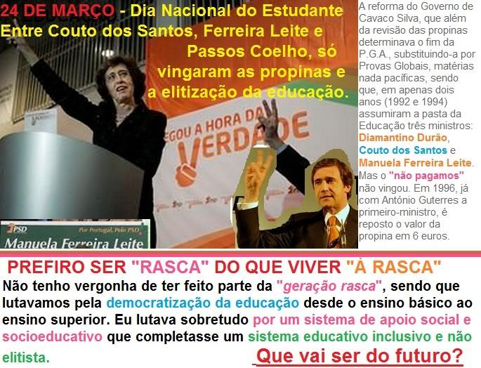 democratização da educação em Portugal, propinas, ensino superior, psd, ferreira leite
