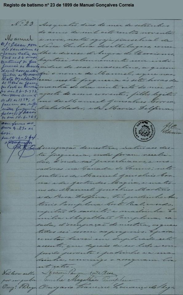 Registo 23 batismo Manuel G Correia TER-AH-SERRETA 1899