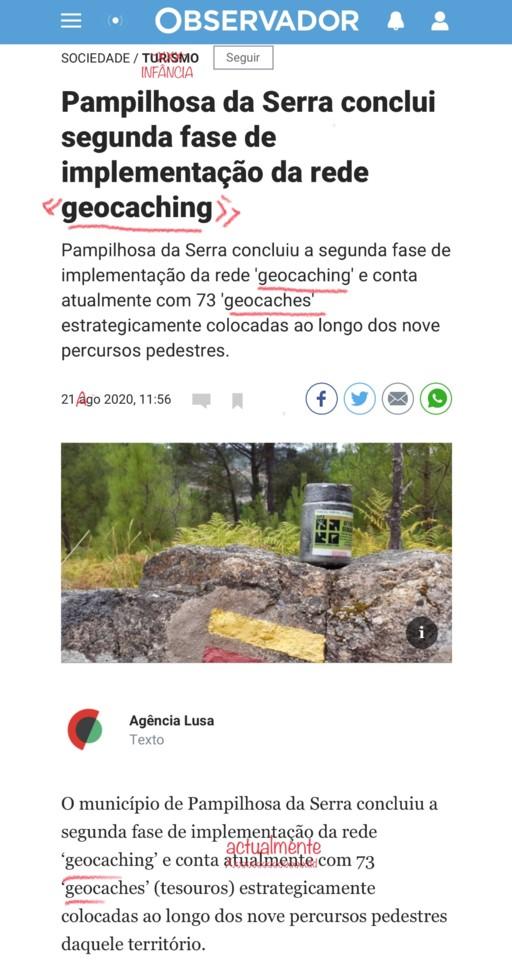 Pampilhosa da Serra conclui segunda fase de implementação da rede geocaching, Observador, 22/08/20