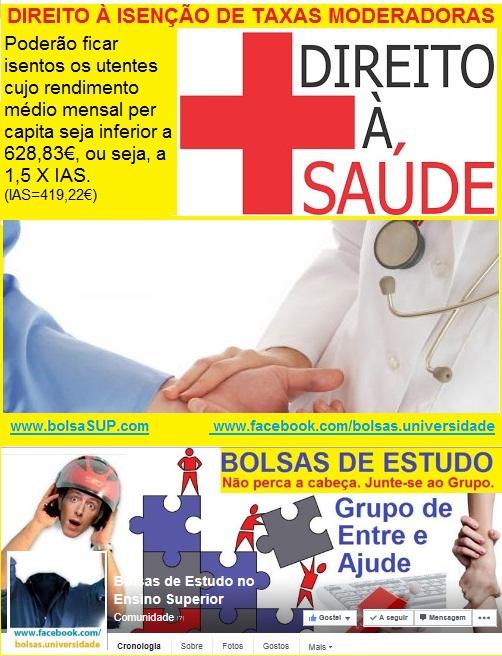 apoios sociais, bolsas de estudo, saúde, isenção de taxas moderadoras centro de saúde e hospitais