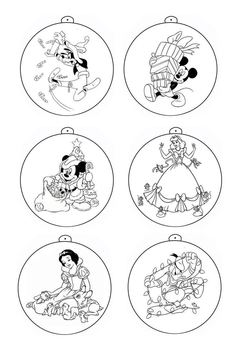 Bolas De Natal Disney Para Colorir Brinquedos De Papel