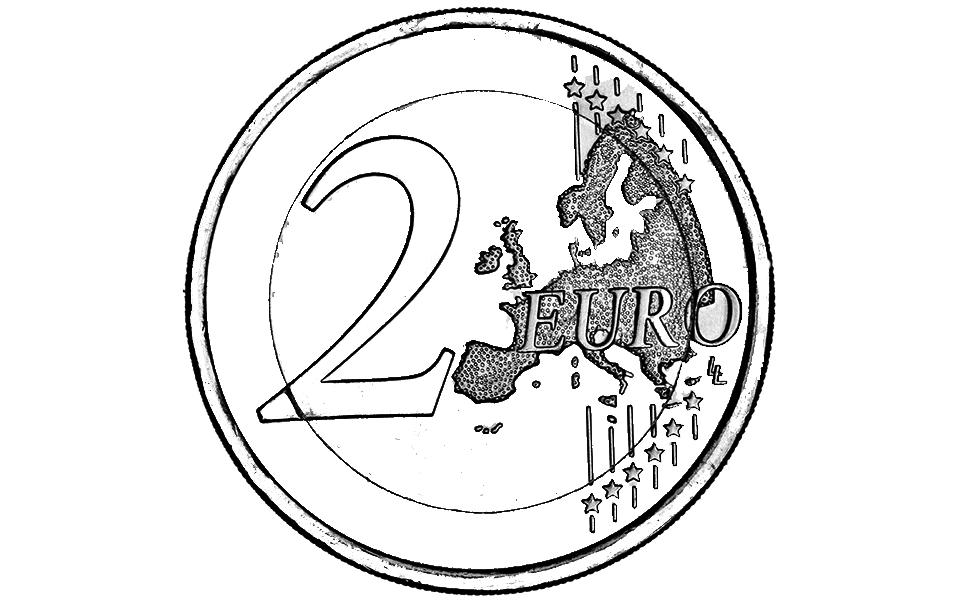 Moedas E Notas Euro Para Colorir Moeda De 2 Euros Para Pintar