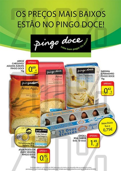 Novo Folheto   PINGO DOCE   de 1 a 14 abril - Preços Baixos