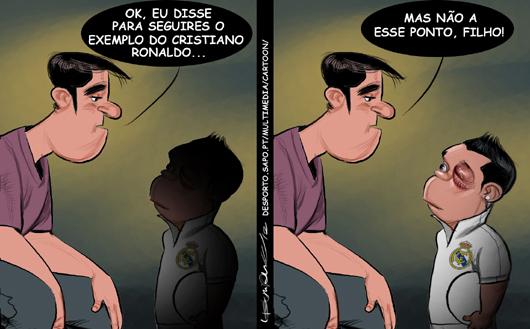 Cartoons - A cotovelada que Cristiano Ronaldo levou no olho