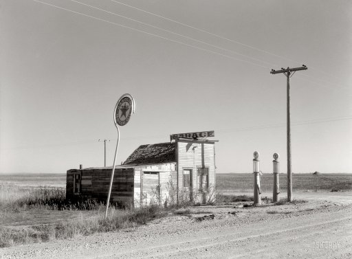 Infra-estrutura rodoviária abandonada, Dakota (Russell Lee, 1937)